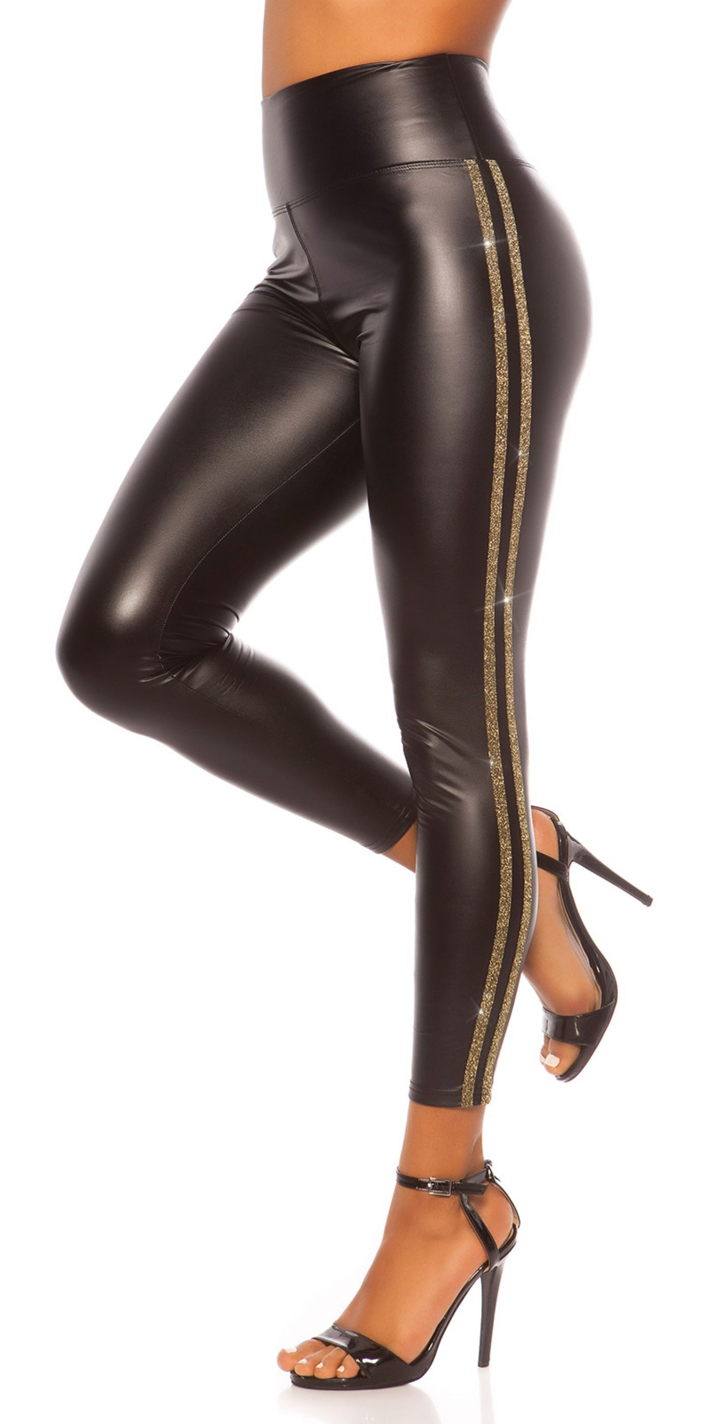 Læderlook Leggings - Guld stribe (wetlook)