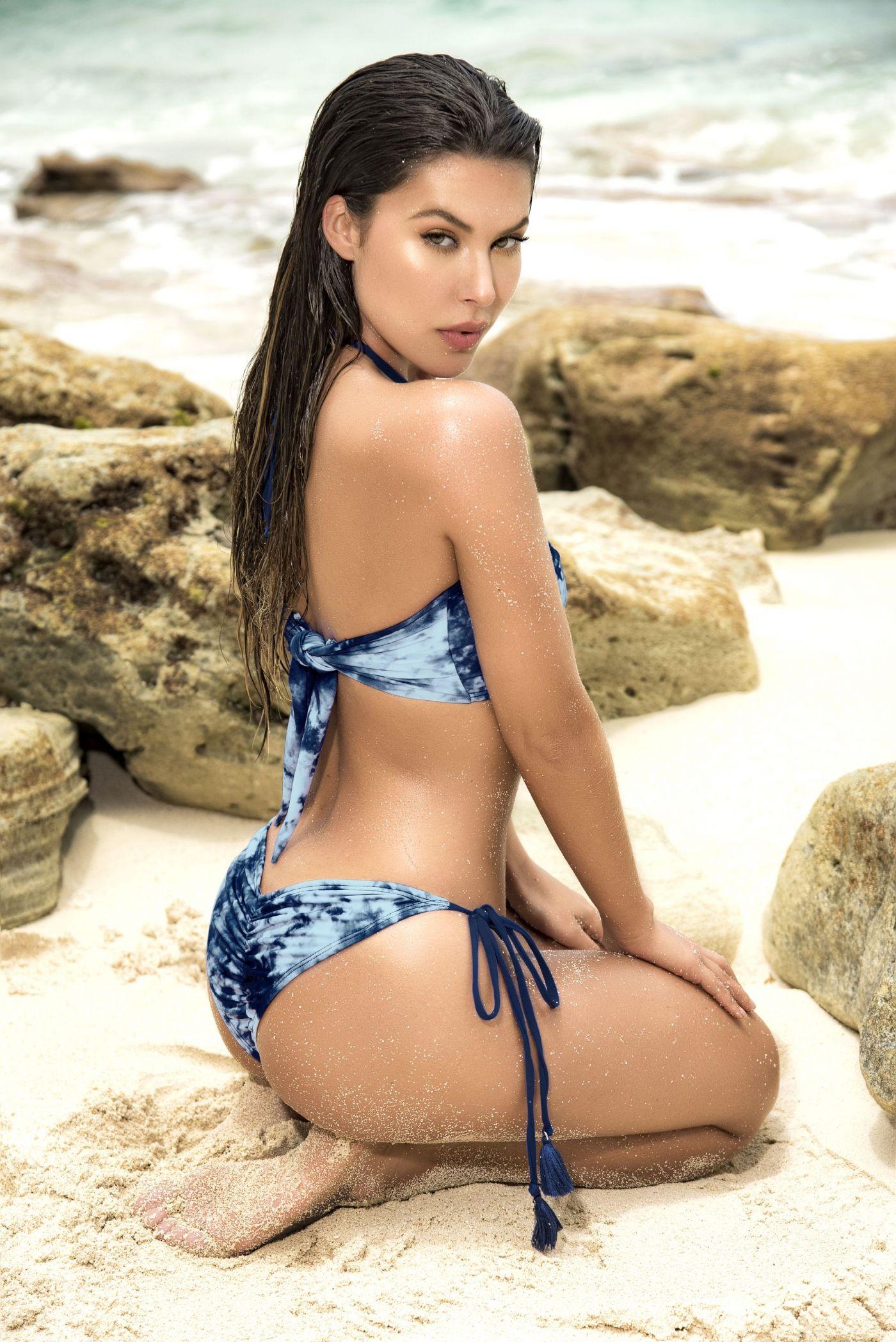 Bikini - Bandeau top - Blå Tie-die (MAP6559)