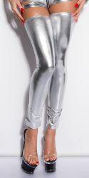 Dancewear - Thigh High Leg Warmers (wetlook sølv)