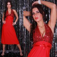 Lange kjoler - Lang neckdress (rød)