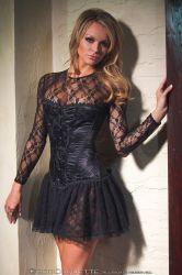 Lingeri kjoler - Blondekjole - lange ærmer (CQ8026)