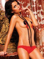 Baci Lingerie - Rød bikini trusse med hjertemønster (#201)