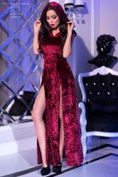 Lange kjoler - Lang kjole med hætte - pink (CR-4302)