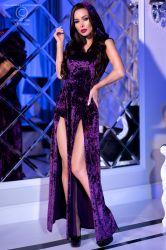 Lange kjoler - Lang Kjole med hætte - violet (CR-4302)