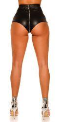 Nederdele & Shorts - Højtalje Wetlook hotpants - lynlås front til bag