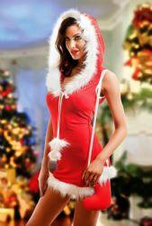 Kostumer - Julepiger / Nissepiger - Julepige Hættekjole - inkl. taske