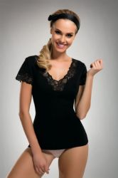Toppe - Elena Top - Sort - Blonde kanter