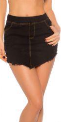 Nederdele & Shorts - Jeans Nederdel - Flosset kant (sort)