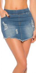 Nederdele & Shorts - Jeans Nederdel - Flosset kant (blå)