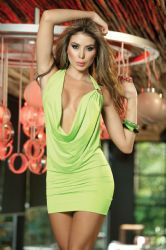 Korte kjoler - Dyb V-front Minikjole - Hot Grøn (ESP4116)