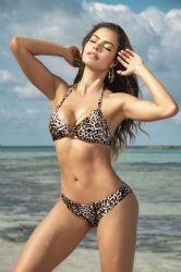Bikini & Badetøj - Bikini - Metalring foran - Leopard (MAP6544)
