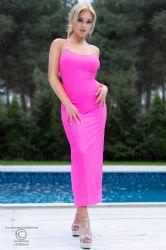 Lange kjoler - Lang Kjole - Hot Pink (CR-4379)