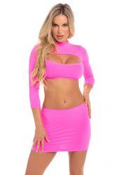 Top / Skirt - sæt - Langærmet Crop Top & Nederdel - Pink