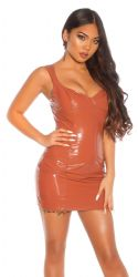 - Elenor Latex-look minikjole (bronze)