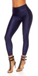 Leggings - metallisk look - navy blå