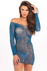 Lingeri kjoler - Blondekjole - uden skulder - blå (RR7083)