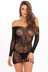 Lingeri kjoler - Blondekjole - uden skulder - sort (RR7083)