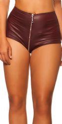 Nederdele & Shorts - Højtalje Wetlook hotpants - lynlås front til bag - Bordeaux