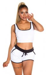 Sport / Fitness - Sporty Crop Top & Shorts - Hvid