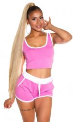 Sport / Fitness - Sporty Crop Top & Shorts - Pink