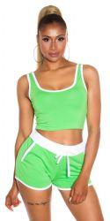 Sport / Fitness - Sporty Crop Top & Shorts - Grøn