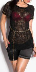 Bluser / T-shirts - Hæklet Top - med kæde-bælte (sort)